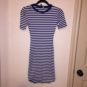 H&M Navy Blue & White Striped Bodycon Dress NWOT